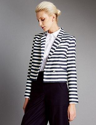 Cotton Rich Striped Blazer, NAVY MIX, catlanding