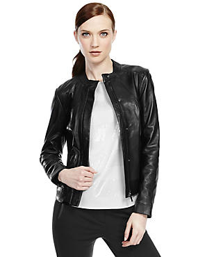 Black Leather Styled Biker Jacket