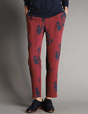 Floral & Striped Tapered Leg Trousers