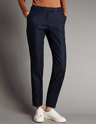 Linen Blend Tapered Leg Trousers, NAVY, catlanding