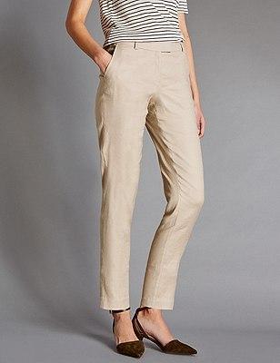 Linen Blend Tapered Leg Trousers, NEUTRAL, catlanding