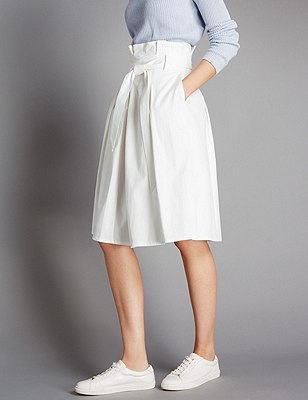 Pleated A-Line Skirt with Belt, SOFT WHITE, catlanding