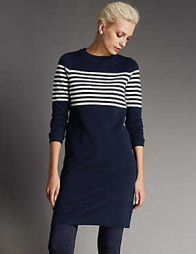Wool Blend Knitted Striped Tunic Dress