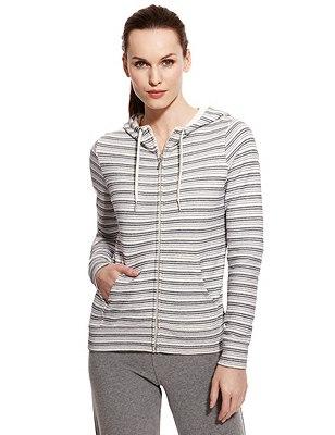 M&S Collection - Active - Top de algodón de rayas con capucha, , catlanding