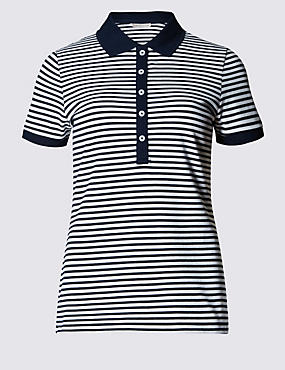 Cotton Rich Striped Polo Shirt