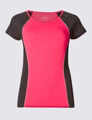 Хлопковая спортивная футболка с окантовкой M&S Collection T513202