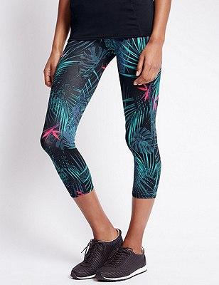 Tropical Print Cropped Leggings, BLACK MIX, catlanding