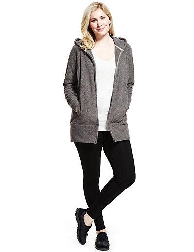 Plus Hooded Longline Fleece Jacket | M&S