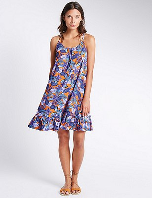 Leaf Print Skater Beach Dress, ORANGE MIX, catlanding
