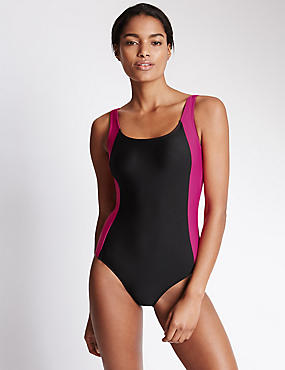 Colour Block Sporty Swimsuit with Chlorine Resist, PINK MIX, catlanding