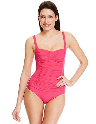 Secret Slimming™ Ruched Swimsuit, PINK, catlanding