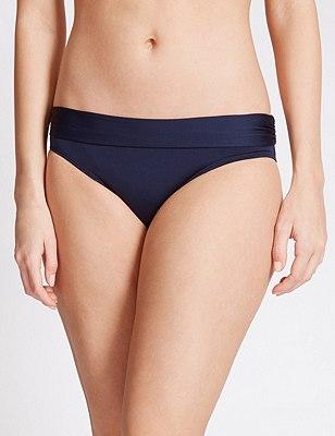Roll Top Hipster Bikini Bottoms, NAVY, catlanding