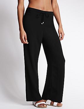 Wide Leg Crêpe Beach Trousers, BLACK, catlanding