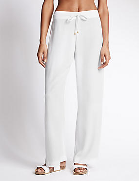 Wide Leg Crêpe Beach Trousers, WHITE, catlanding