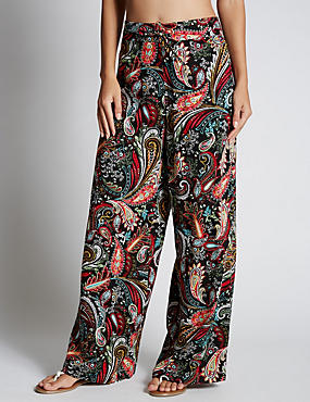 Paisley Print Wide Leg Beach Trousers with StayNEW™