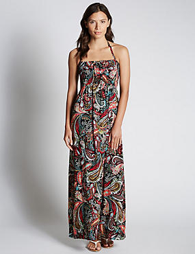 Paisley Print Maxi Beach Dress with StayNEW™