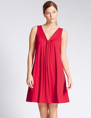 V-Neck Vest Beach Dress with Cool Comfort™ Technology, RED, catlanding