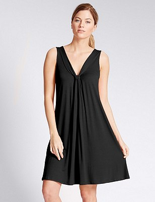 V-Neck Vest Beach Dress with Cool Comfort™ Technology, BLACK, catlanding