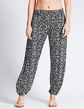 Global Print Harem Beach Trousers with StayNEW™