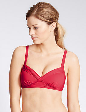 Pleated Plunge Bikini Top