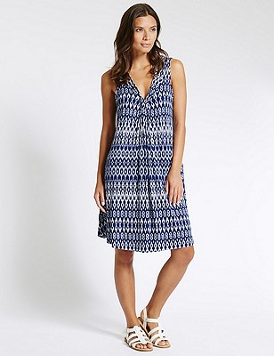 Ikat Print Swing Fit Vest Shift Dress with Cool Comfort™ Technology, NAVY MIX, catlanding