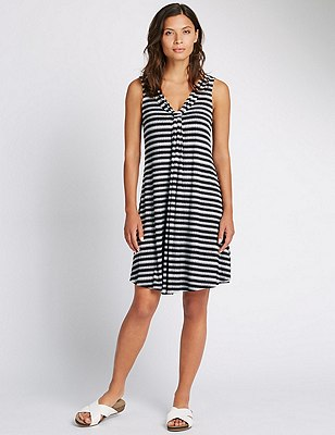 Essential Striped Shift Beach Dress, BLACK MIX, catlanding