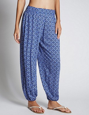 Tile Print Tapered Leg Harem Beach Trousers with Cool Comfort™ Technology, BLUE MIX, catlanding
