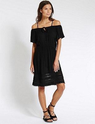 Cold Shoulder Fit & Flare Dress, BLACK, catlanding