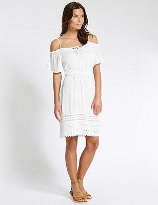 Cold Shoulder Fit & Flare Dress, WHITE, catlanding