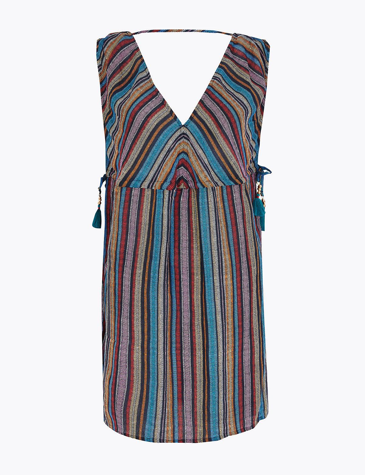 Хлопковое пляжное платье-мини в полоску