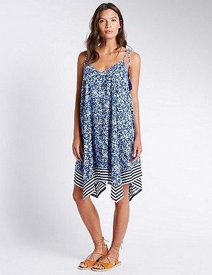 Tip Star Print Oversized Handkerchief Hem Dress, BLUE MIX, catlanding