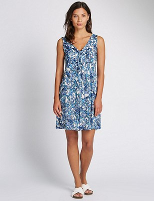 Paisley Print Shift Beach Dress, WHITE MIX, catlanding