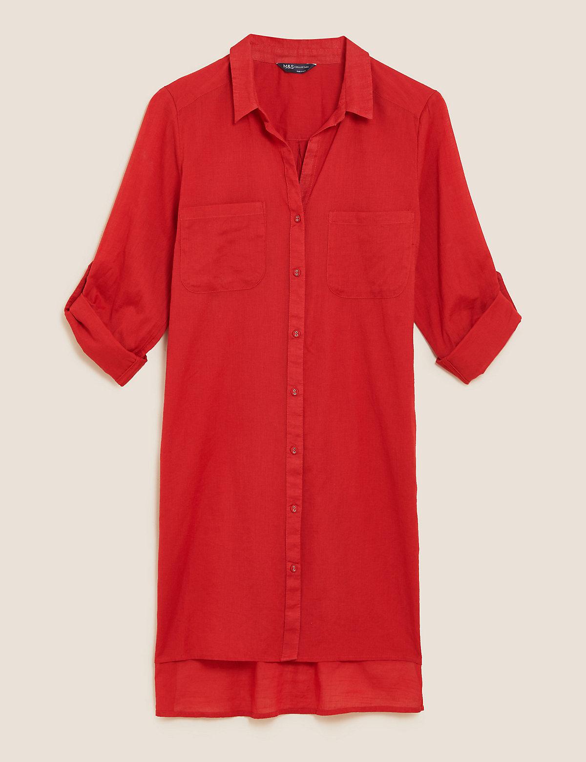 Пляжное платье-рубашка на пуговицах с разрезами по бокам