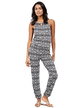 Ikat Print Beach Jumpsuit