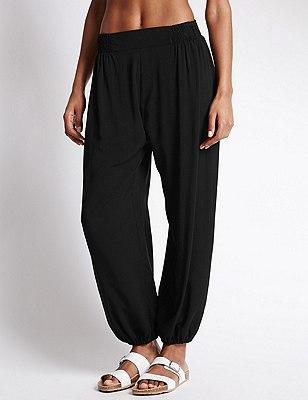 Tapered Leg Harem Beach Trousers with StayNEW™, BLACK, catlanding