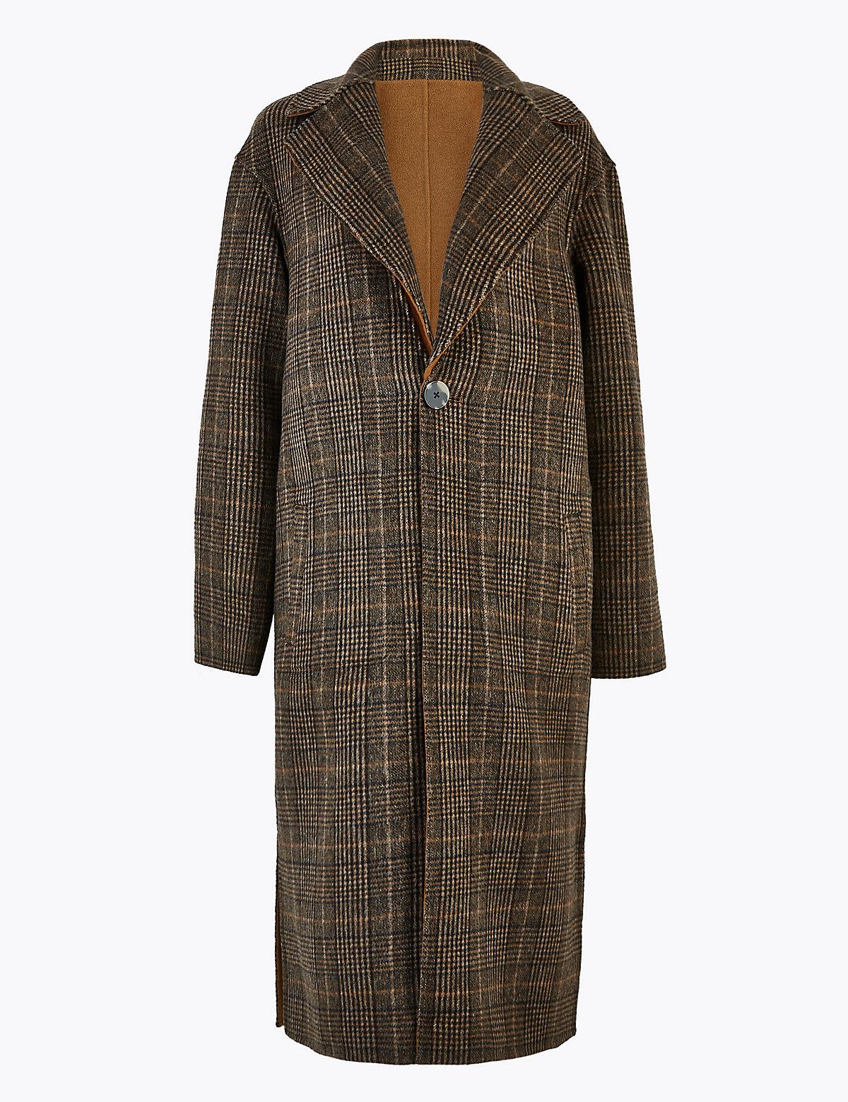 Двустороннее пальто в клетку с шерстью