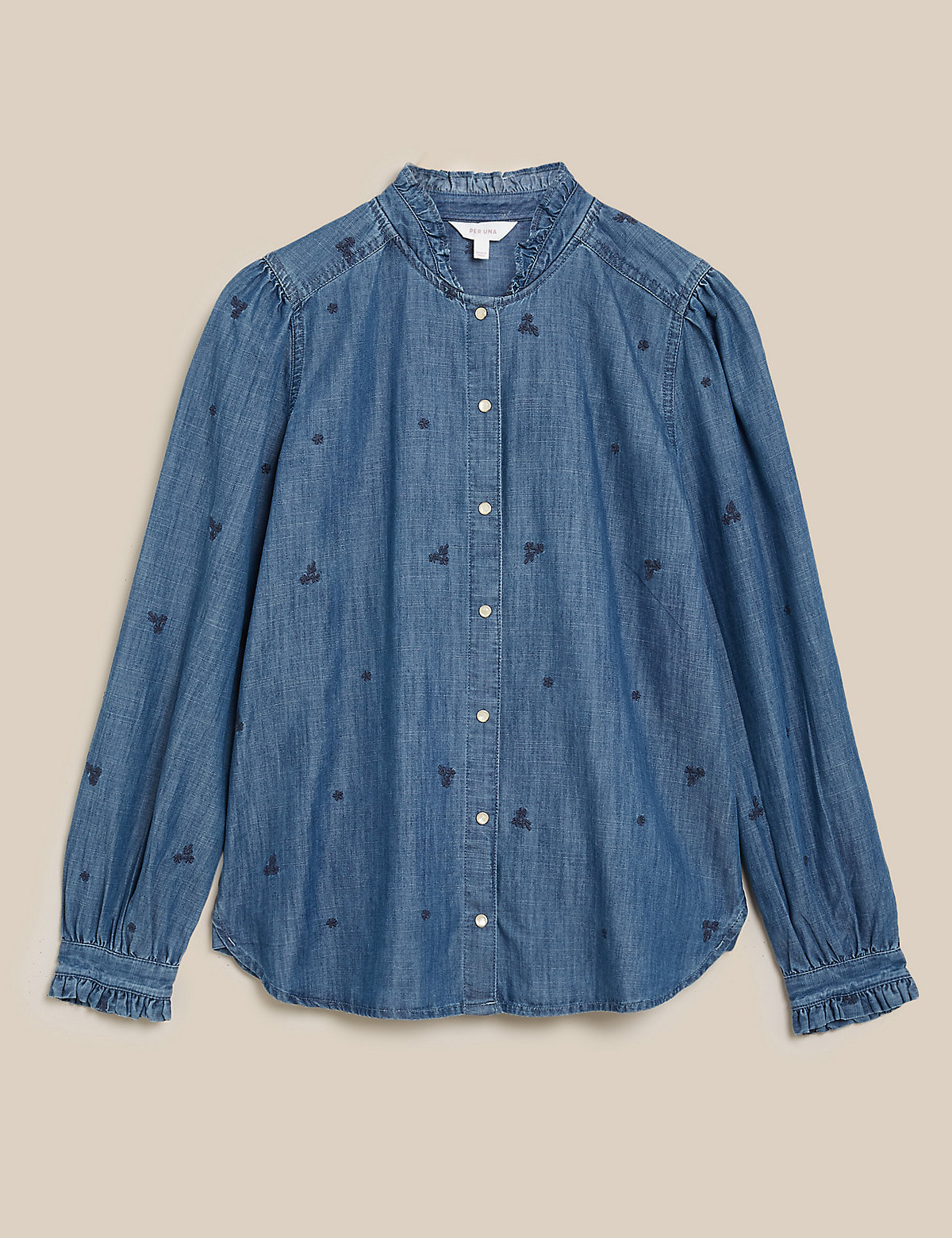 Джинсовая блузка Tencel ™ с вышивкой и оборками