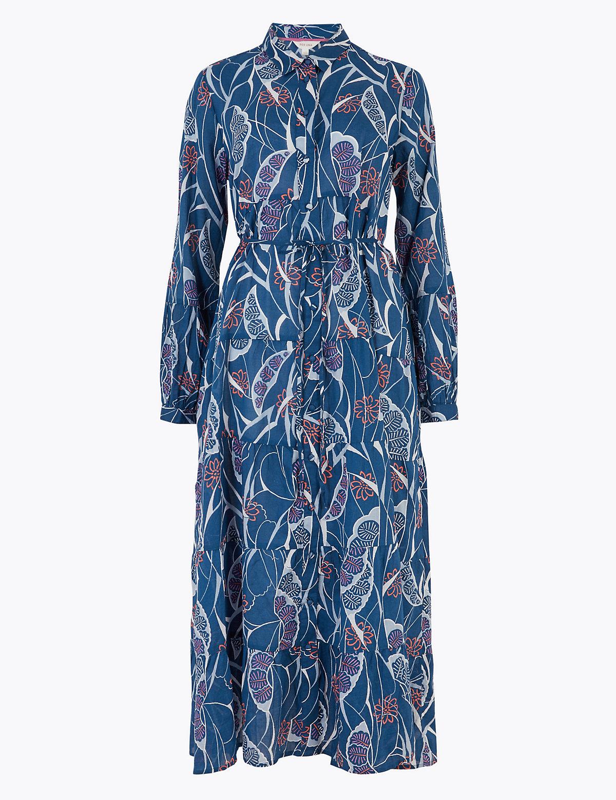 Per Una / Платье-рубашка длиною миди из чистого хлопка с принтом
