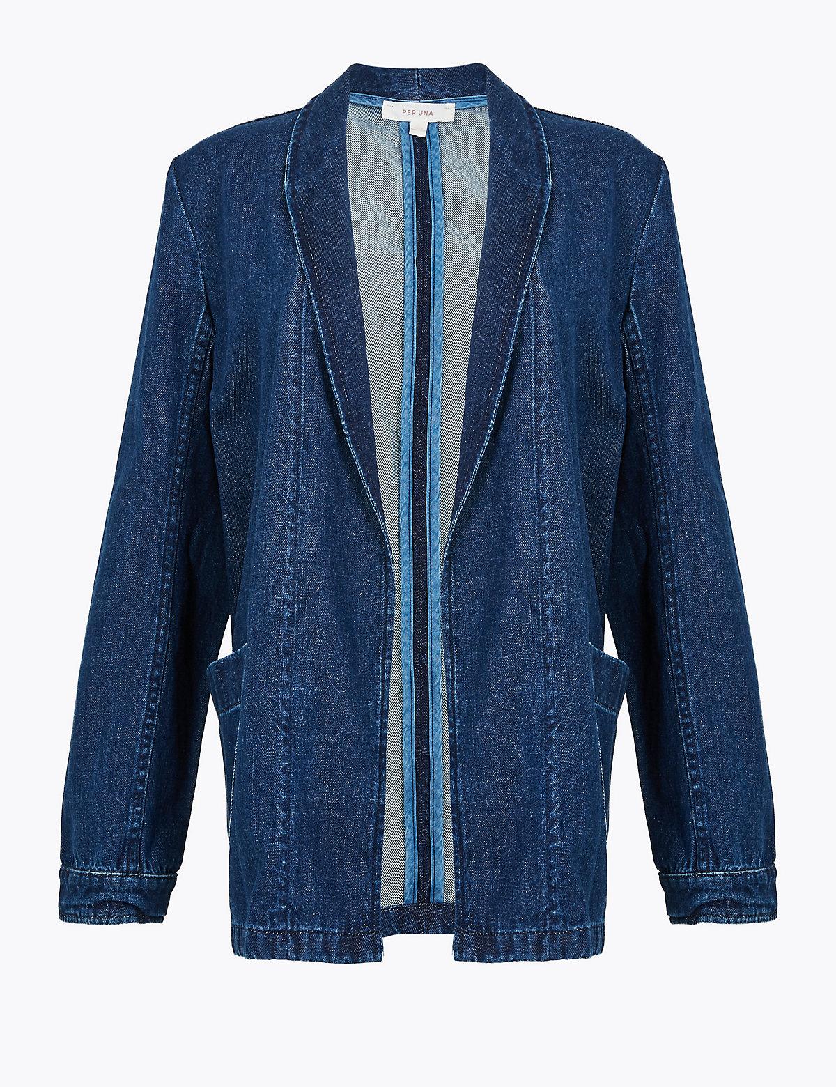 Джинсовая куртка кимоно Per Una. Цвет: умеренный индиго