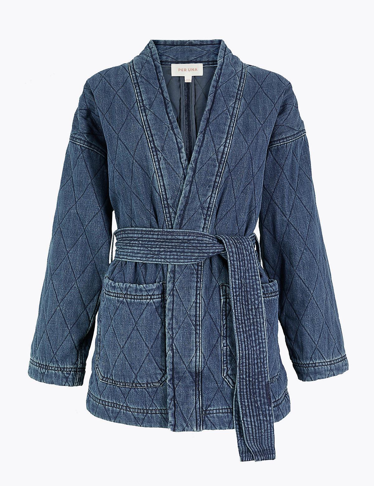 Женская джинсовая куртка Per Una. Цвет: умеренный индиго