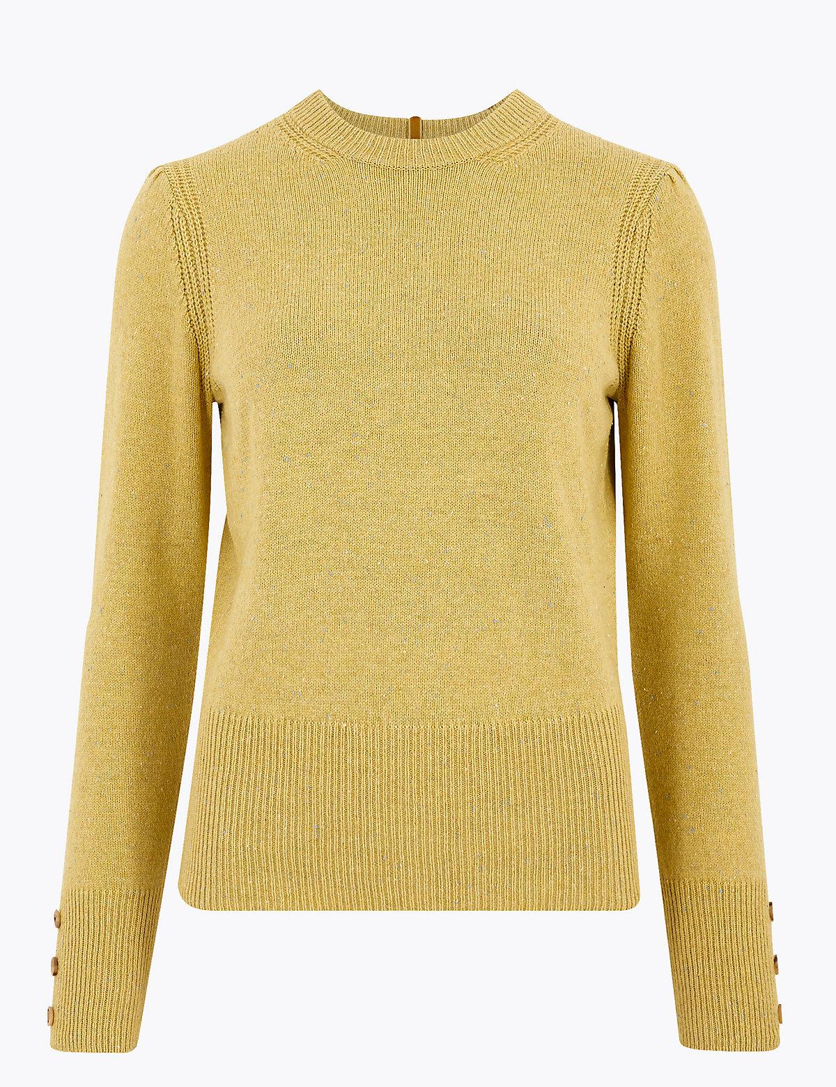 Джемпер из хлопка и шерсти декорирован пуговицами на рукавах