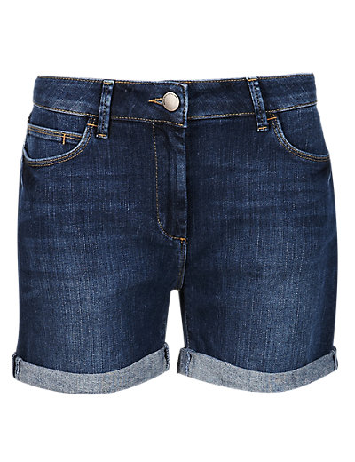 Medium Indigo Boyfriend Denim Shorts Clothing