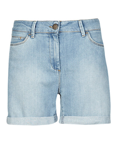 Light Indigo Boyfriend Denim Shorts Clothing