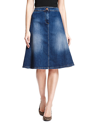 Denim A Line Skirts Knee Length