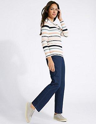 Mid Rise Straight Leg Jeans, MEDIUM BLUE, catlanding