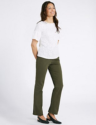 Mid Rise Straight Leg Jeans, KHAKI, catlanding