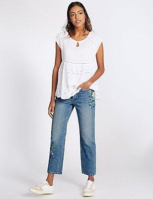 Embroidered Mid Rise Straight Leg Jeans, LIGHT INDIGO, catlanding
