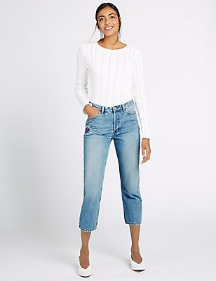 Floral Mid Rise Cropped Straight Leg Jeans, LIGHT INDIGO, catlanding