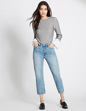 Mid Rise Cropped Straight Leg Jeans, BLEACHED, catlanding