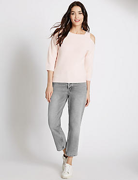 Mid Rise Cropped Straight Leg Jeans, LIGHT GREY, catlanding